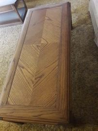 Set of 3: Vintage Living Room Coffee & End Tables,  $100  Vintage set of living room tables. One coffee table and two end tables. Coffee table measures 16 high, 23 wide, and 54.5 long. Side tables measure 24 x 31 and 2 high. Will sell separately. Nice grain in wood.
