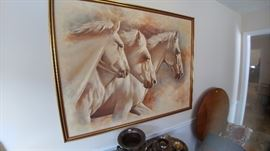 Signed MARX.  Listed artist.  Large painting.  I don't think it is a print, but I don't know.  Marx is known for his paintings of horses.  You can google him if you want more information.