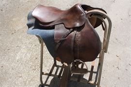 English riding saddle and saddle stand- sold separately.  Ms. Sandy owned a horse ranch in Middle Georgia before moving to Henry County.  This sale offers lots of horse related items.