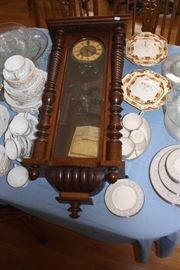 This clock has been in the family many years.  We think all the parts are there, but it does not work.  Case is intact and really nice.  Surrounded by two sets of china.