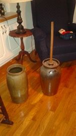 OK, these are awesome!! Early 1900's pottery Butter Churns. the left Churn is from Alabama. The right one is a early 1930ish Hewell Butter Churn. Chester Hewell's mother made the handles on this baby!!