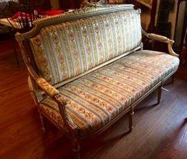 French Gilded Sofa with Velvet