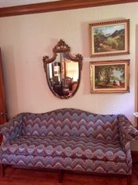Camelback Sofa Oil Paintings Carved and Gilded Shield Mirror