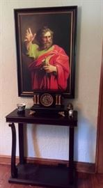 Religious Oil Painting Antique Clock Console Table