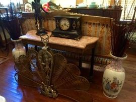 Brass Fan Fire Screen Asian Vases Antique Marble Top Console Table Antique Clock Bronze Cherub