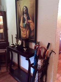Antique Clock Umbrella Stand Religious Oil Painting