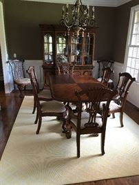 Charleton Collection Millennium By Ashley Mahogany Dining Table w/ Two Leaves, Two Mahogany Upholstered Seat Dining Arm Chairs and Six Mahogany Upholstered Seat Dining Side Chairs