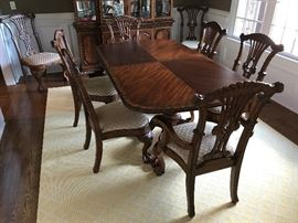Charleton Collection Millennium By Ashley Mahogany Dining Table w/ Two Leaves, Two Mahogany Upholstered Seat Dining Arm Chairs and Six Mahogany Upholstered Seat Dining Side Chairs - Table Detail