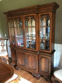Charleton Collection Millennium By Ashley Mahogany Lighted China Cabinet w/ Mirrored Back & Glass Shelves