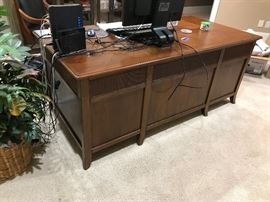 Stanley Walnut Seven-Drawer Office Desk