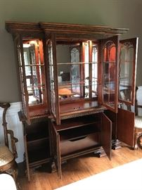 Charleton Collection Millennium By Ashley Mahogany Lighted China Cabinet w/ Mirrored Back & Glass Shelves - Detail