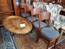Large brass tray table and 4 bent wood chairs