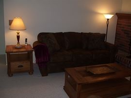 Broyhill leather couch and matching tables.