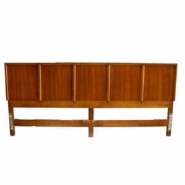 Mid Century Modern Style King Size Headboard: A wooden mid century modern style king size headboard. Made of oak, this rectangular headboard is separated into five squares. Rails and footboard are not included.