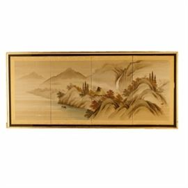 East Asian Screen: A framed East Asian screen. This four-panel screen features a painted design on cloth depicting a house in the middle of a mountain region with a waterfall in the background and the sea at the foot of the mountains. This piece is edged in a white and yellow floral print ribbon and is signed on the lower right. This piece is presented in a black and gold tone frame with a wire on the back for hanging.