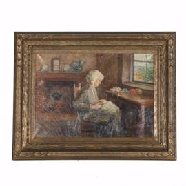 "Dunham E. Fabian Original Oil Paining ""Grandaughter's Gown"": An original oil painting on canvas titled Grandaughter's Gown by Lydian Dunham Fabian (1857-1947). This oil painting features a gray-haired woman in a white bonnet and gray gown sewing a dress with a fireplace to the background. The piece is signed by hand in red paint to the lower right ""L. Dunham Fabian"" and is encompassed by an ornate gilt wood frame which includes a gold tone plaque which reads ""Grandaughter's Gown Dunham E. Fabian"" at its front and hanging wire on its verso."