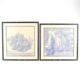 Thai Rubbings: A set of Thai rubbings. This set features two rubbings depicting figures in blue on a beige paper. Each piece is presented behind a cream mat with a black liner under glass in a black painted wood frame with a wire on the back for hanging.