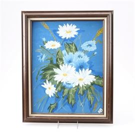 "Acrylic Floral Painting on Canvas: An acrylic floral painting on canvas. This painting depicts a bouquet of white and blue flowers in front of a blue background and is signed ""KB"" by hand in paint to the lower right corner. The piece is mounted in a brown painted wood frame with a beige liner. Two decals are present to verso of the frame."