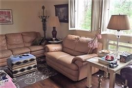 Tan leather Sofa and Love Seat