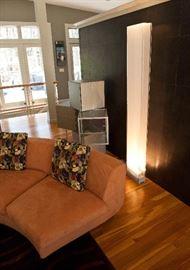 Minotti Dubuffet round sofa, Lago Cubes, DWR Cortina floor light