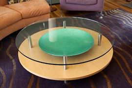 """Desiron custom glass and wood coffee table. 45"""" round. Green bowl under glass sold separately."""