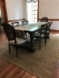 """17th C Monastery Rectangular Dining Table by Restoration Hardware 76""""L x 43""""W  30""""H  Madeline Fabric Side Chairs by Restoration Hardware,"""