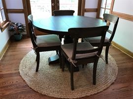 """1930's French Farmhouse Round Table by Restoration Hardware.  48"""" Round    19th C English School House Chairs by Restoration"""