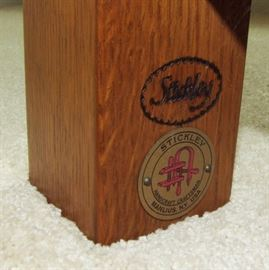 1991 Signed Stickley Oak and Leather Morris Chair  Makers Tag