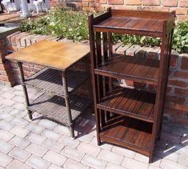 1905 Mission Oak Open Bookshelf and Wicker Lamp Table