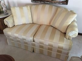 Gold striped love seat Thomasville