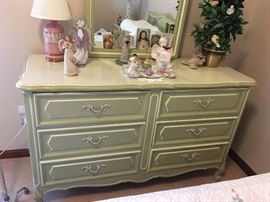light green French provincial dresser with mirror