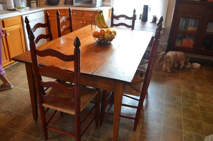 American Primitive Farmhouse Kitchen Table ( Original as is every piece of furniture in this Historic House ) - also - a set of six original Ladder Back Chairs with Rush Seats in excellent condition!