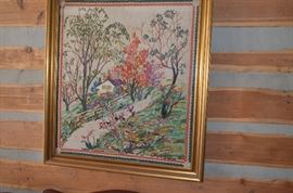 Another view! Absolutely Gorgeous Antique Needlepoint Artistry. This is very large and Beautifully Framed.