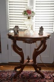 Gorgeous Antique Scalloped Edge Table featuring a Fancy Alladin Lamp base with Rose painted shade and Willow Tree figurines