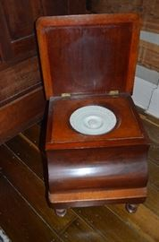 Antique Victorian Potty Chair ( very Fancy ) includes Porcelain Chamber Pot with lid. Just think you can leave this right beside your TV chair and never have to miss a Commercial!