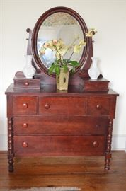 Antique Jenny Lind Dresser with Ox Bow Mirror