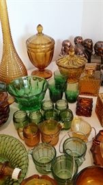 Vintage green and amber glass