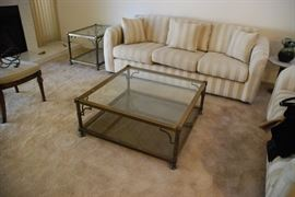 Brass and glass coffee table (sofa no longer available)