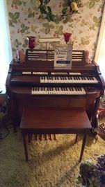 Nice Electric Tube type Organ Circa 1960's.  Needs repairs.   Stool priced separate.