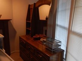 Interesting piece...dresser with mirror and side shelf in oak.