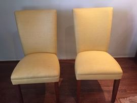 Pair of Linen Covered Parsons Chair