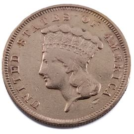 Scarce 1857 S Indian Head Princess $3 Gold Coin: A Scarce 1857 S Indian Head Princess $3 gold coin. Designer: James Barton Longacre. Mintage: 14,250. Metal content: 90% gold, 10% copper. Diameter: 20.5 mm. Weight: 5.0 grams. Circulated. Fair condition. Scratches and rim damage.