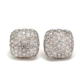 Pair of 18K White Gold 3.10 CTW Diamond Cushion Square Earrings: A pair of 18K white gold cushion square shaped earrings adorned with diamonds. Earrings have 14K white gold omega backs.