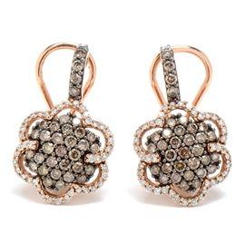 Pair of Le Vian 14K Rose Gold Chocolate Diamond Earrings: A pair of Le Vian 14K rose gold earrings featuring six-petal flowers with chocolate diamonds. The total diamond carat weight is 1.62 ctw.