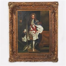 "Reproduction Portrait after Sir Godfrey Kneller: A reproduction portrait after Sir Godfrey Kneller. This reproduction portrait features a depiction of John Churchill, the first Duke of Marlborough, wearing the robes of The Order of the Garter. This piece is signed ""Sorrento"" in the bottom right corner and is presented in a carved gilt frame with scrolling foliate design and a wire on the back for hanging."