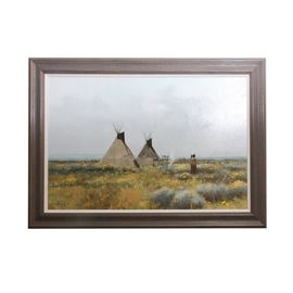 "Douglas Ricks Original Oil Painting on Canvas ""Commanche Tipis"": An original oil painting on canvas, Commanche Tipis, by listed artist Douglas Ricks (American, 1954-2003). The painting depicts a small camp site with a pair of tipis in a vast sagebrush strewn valley, a woman and her papoose gazing into the distance. The painting is signed to the lower left ""Douglas Ricks"", and is displayed in a dark wooden frame with a linen fillet."