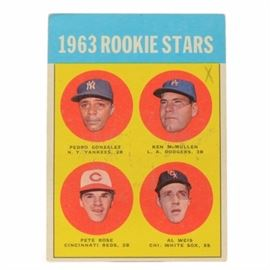 "Original 1963 Pete Rose Topps Rookie Card: An original 1963 Pete Rose Cincinnati Reds Topps rookie baseball card. This card depicts Pete with three other rookies. The card is #537 and retains its original vivid and bold colors. The card is housed in a protective top loader. Pete Rose is Major League Baseball's ""All-Time Hit King."" He was inducted into the Cincinnati Reds Hall Of Fame last summer."