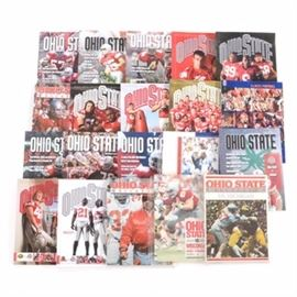 "Twenty 1990s-2000s Ohio State Football Programs: An assortment of twenty 1990s-2000s Ohio State Buckeyes ""Game Day"" football programs. Many of the Buckeyes Big Ten foes are included such as Michigan, Iowa, Northwestern, Wisconsin, Penn State, Illinois, and Indiana. Other opponents include Pittsburgh, Cincinnati, Marshall, and Miami Redhawks. Most of the publications are housed in a plastic protective top loader. Please note, EBTH did not inspect each program for the condition and completion."