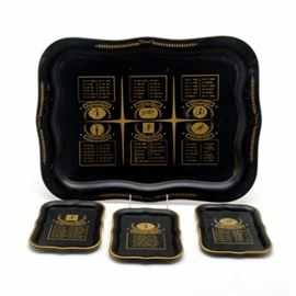 1950s/60s Sports Trays: A set of six small serving trays and one large serving tray that features champions from various sports. The trays are black with gold shaded lettering and graphics. The large tray has six sections that honor record holders for specific sports, the earliest date listed is from 1932 (boxing), the latest date listed is 1961 (all of the sports list a 1961 champion). The sports are: Professional football, Kentucky Derby, World Series, US Open Golf, Heavyweight Boxing and College Football. The small trays list: Heisman Trophy Winners from 1950-1961; Batting Champions from 1954-1961 (both leagues); Triple Crown Winners – 1919 Sir Barton to 1948 Citation; Jim Thorpe Trophy winners from 1955-1961; Neil Memorial Trophy winners from 1946-1961 and the National Amateur Golf winners from 1950-1961.