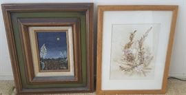 EHT006 Framed Natural Seaweed Art & Original Oil Signed